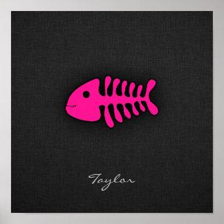 Hot Pink Fish Bones Poster