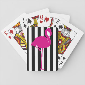 Hot Pink Flamingo on Black and White Stripe Playing Cards