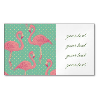 Hot pink,flamingo,polka dot,teal,peach,hipster,fun magnetic business cards (Pack of 25)