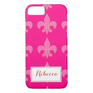 Hot Pink Fleur de lis iPhone 8/7 Case