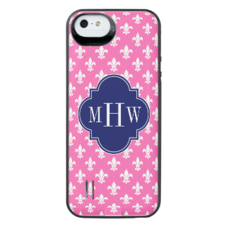 Hot Pink Fleur de Lis Navy 3 Initial Monogram iPhone SE/5/5s Battery Case