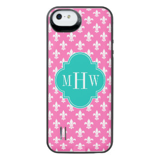 Hot Pink Fleur de Lis Teal 3 Initial Monogram iPhone SE/5/5s Battery Case