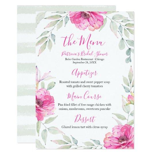 Hot Pink Floral Watercolor Bridal Shower Menu Card