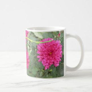 Hot pink flower basic white mug