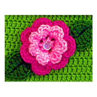 Hot Pink Flower Natural Green Leaf Crochet Print Postcard