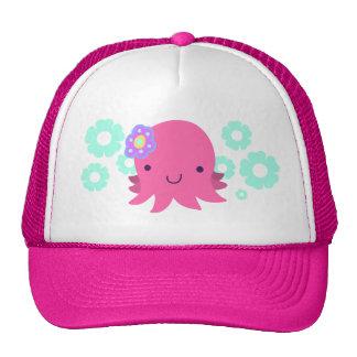 Hot Pink Flower Octopus Cap