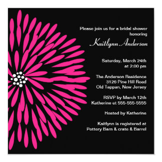 Hot Pink Flower on Black Bridal Shower Invitation
