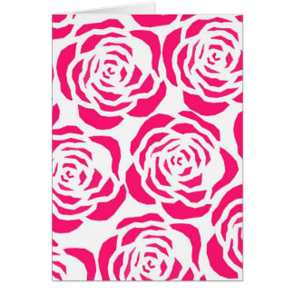 hot pink flower outlines card