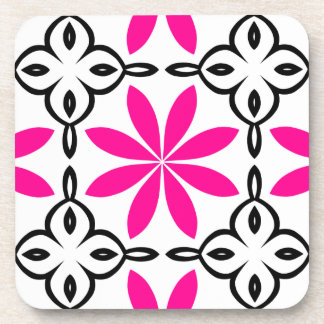 Hot pink flowers beverage coaster