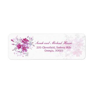 Hot pink flowers return address Avery label