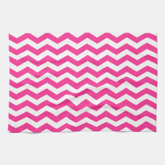 Hot Pink Fuchsia And White Zigzag Chevron Pattern Hand Towels