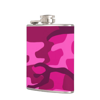 Hot Pink Fuchsia Camo Camouflage Girly Pattern Hip Flask