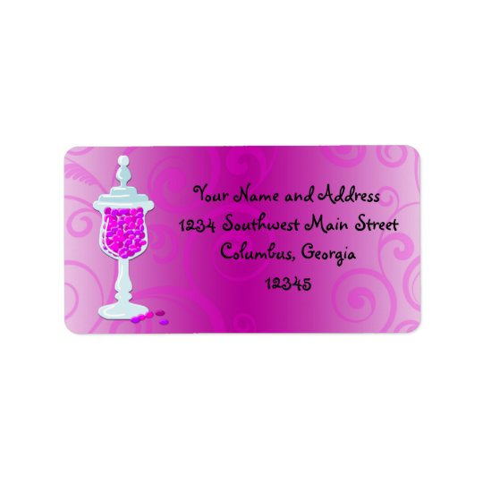 Hot Pink Fuchsia Candy Buffet Address Label