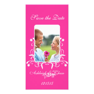 Hot Pink Fuchsia Save the Date Your Photo Photo Card Template
