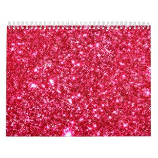 hot pink fuchsia tiny sequin glitter wall calendars