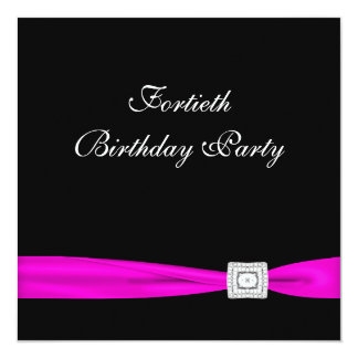 Hot Pink Fuchsia Womans 40th Birthday Party Card