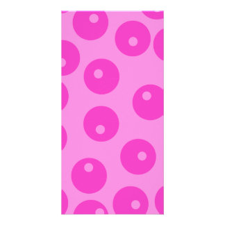 Hot Pink Funky Retro Pattern. Photo Greeting Card
