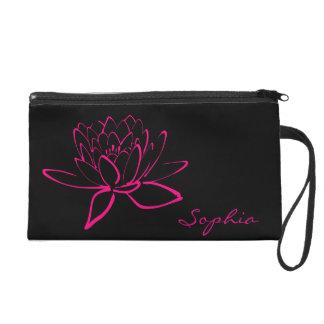 Hot Pink Fuschia Lotus Flower Name Monogram Purse