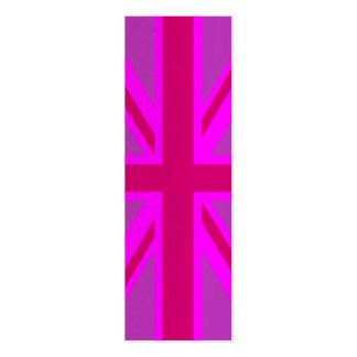 Hot Pink Fushia Union Jack British Flag Background Business Card Templates
