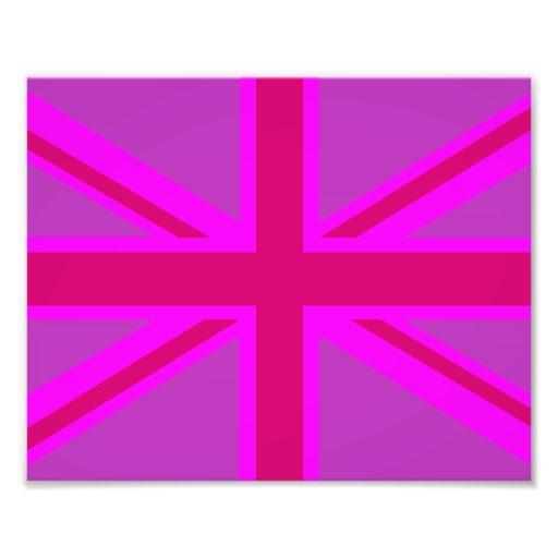 Hot Pink Fushia Union Jack British Flag Background Photo Print