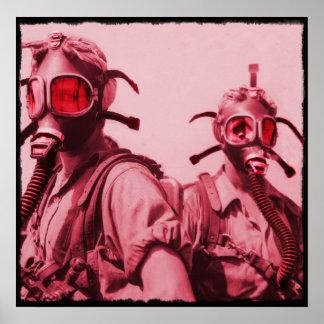 Hot Pink Gas Masks Poster