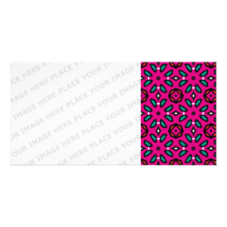Hot Pink Geometric Floral Pattern Personalized Photo Card