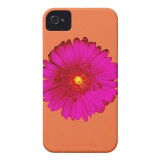 Hot Pink Gerbera Daisy on Orange iPhone 4 Cover