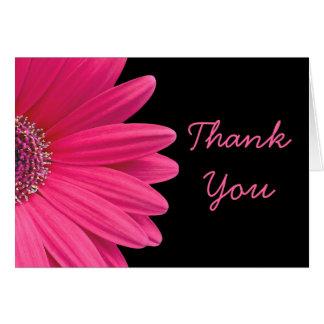 Hot Pink Gerbera (Gerber) Daisy Black Thank You Card