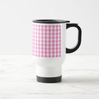 Hot pink Gingham pattern 15 Oz Stainless Steel Travel Mug