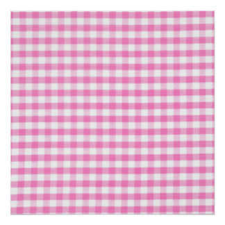 Hot pink Gingham pattern Poster