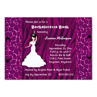 Hot Pink Giraffe And Zebra Party Invitation