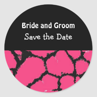 Hot Pink Giraffe Pattern Save the Date Round Sticker