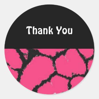 Hot Pink Giraffe Pattern Thank You Round Sticker