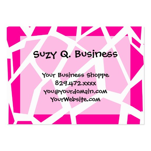 Hot Pink Giraffe Pattern Wild Animal Prints Business Card Template