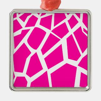 Hot Pink Giraffe Pattern Wild Animal Prints Christmas Tree Ornaments