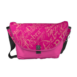 hot pink girls name . personalized messenger bag