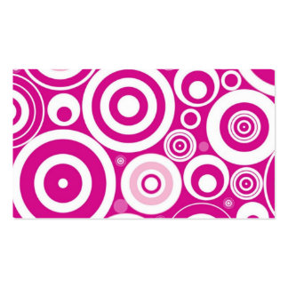 Hot Pink Girly Retro Funky Circles Pattern Business Cards