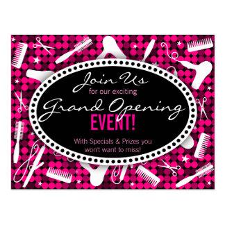 Hot Pink Glam Custom Hair Salon Event Postcard