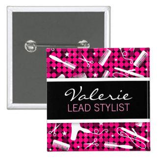 Hot Pink Glam Custom Hair Salon Name Badge