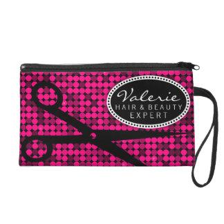 Hot Pink Glam Hair Shears Custom Wristlet Bag