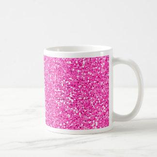 Hot Pink Glitter Basic White Mug