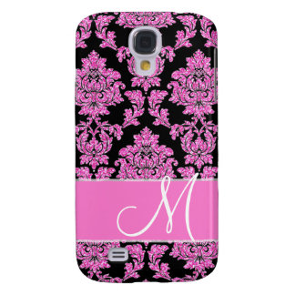 Hot pink glitter damask pattern on black, Monogram Galaxy S4 Cases