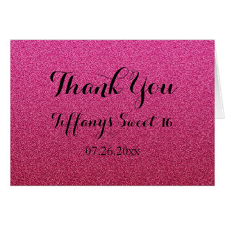 Hot Pink Glitter Fux Ombre Sweet 16 Thank You Card