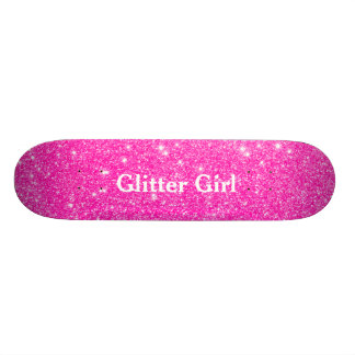 Hot Pink Glitter Girl Show Your Glamours Sparkle Skateboard