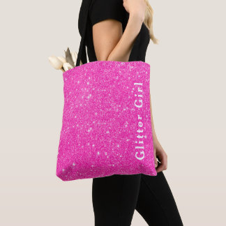 Hot Pink Glitter Girl Show Your Glamours Sparkle Tote Bag