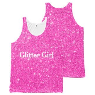 Hot Pink Glitter Girl Show Your Sparkle All-Over Print Singlet
