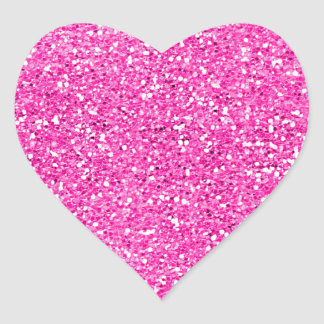 Hot Pink Glitter Heart Sticker
