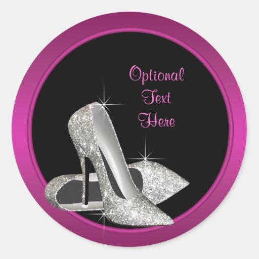 Hot Pink Glitter High Heels Envelope Seal Sticker