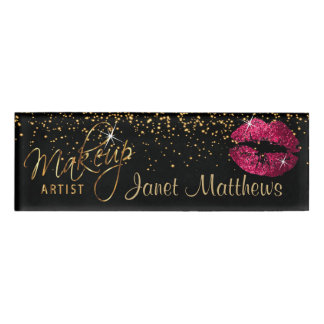 Hot Pink Glitter Lips and Elegant Gold Name Tag