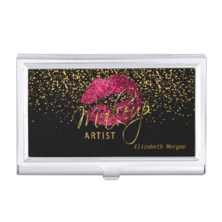 Hot Pink Glitter Lips and Gold Confetti Business Card Holder